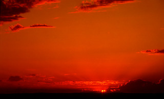June 1994 - Awesome West Coast sunset, viewing northwest from the Darling Range, south of Perth, Western Australia