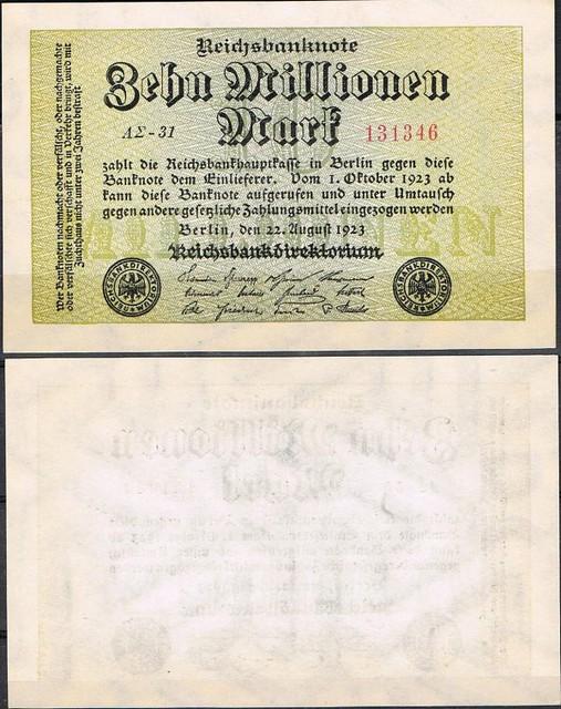 10 Miliónov Mariek Nemecko 1923, Pick 106