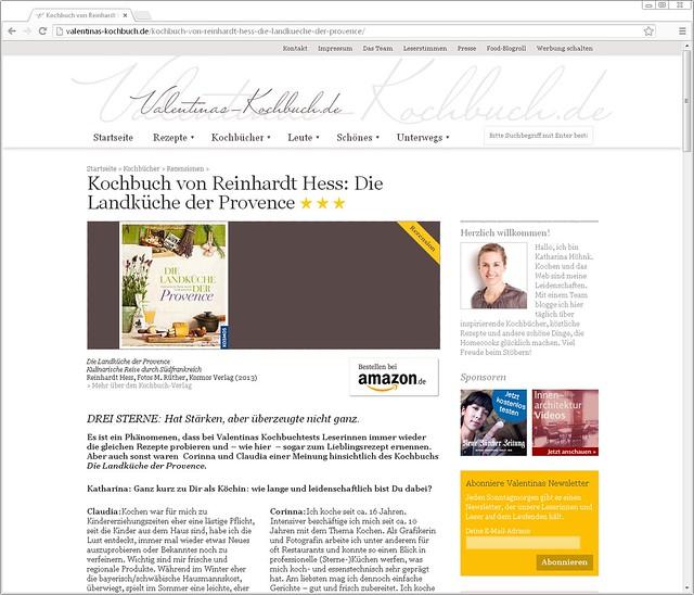 Kochbuchrezension / Cookbook review: Die Landküche der Provence von Reinhardt Hess für valentinas-kochbuch.de