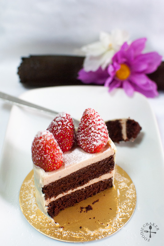 Chocolate and Strawberry Bavarian Cream Layer Cake