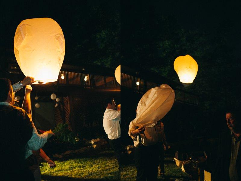 paper lanterns at dusk