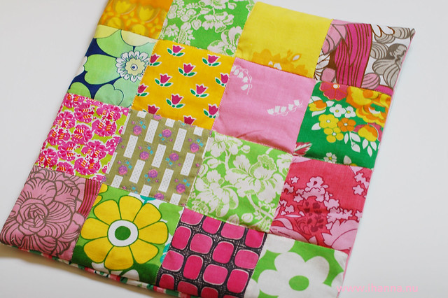 Patchwork Pillow Pink, Green and Yellow