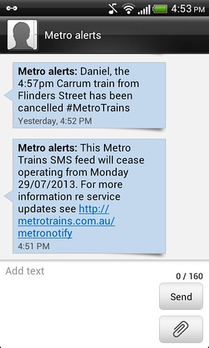 The @metrotrains SMS alert service is shutting down on Monday.