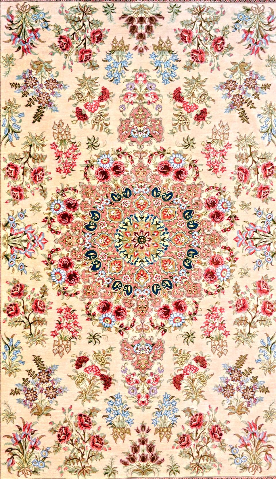 Qum Floral Scene Persian Silk Area Rug