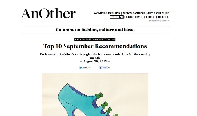 Thank you AnOther for including my exhibition in this month's top 10 recommendations!