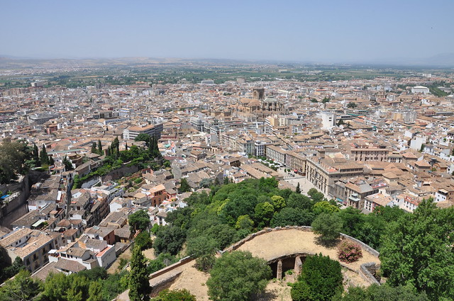 Alhambra - Looking down on Granada and its Cathedral
