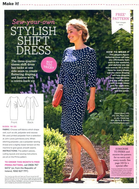 PRIMA Magazine - September 2013 - Shift Dress Pattern