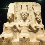 King Ramesses II with the God Amun and the Goddess Mut