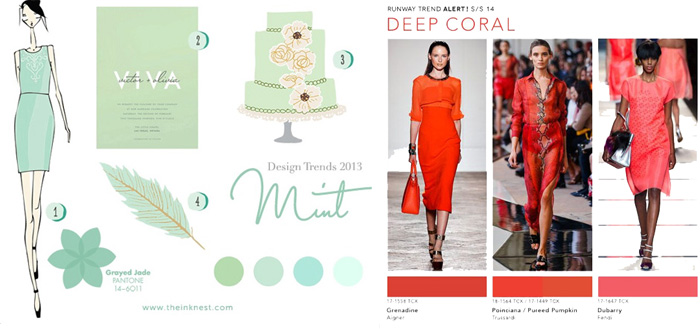 Mint + Coral in fashion trends 2013-2014