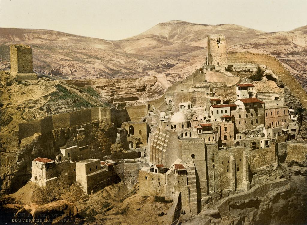 18. Monasterio ortodoxo de Mar Saba, en el valle del Cidrón. Israel. 1895. Autor, Trialsanderrors