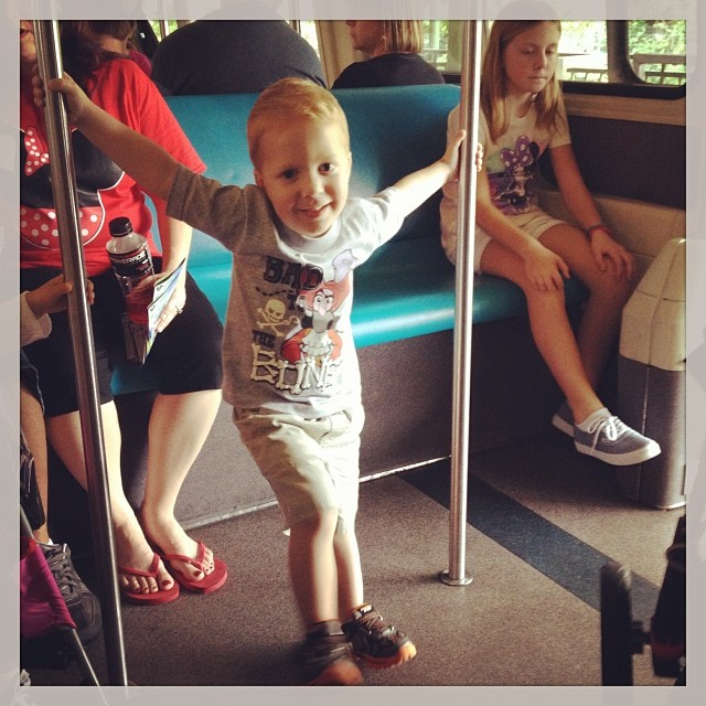 Owen owning the monorail. We got here at 8 and now leaving for some healthy food, peace and quiet, and a population density of zero.  For the record we did 10 rides with very little waiting.  Tea cups, Winnie the Pooh, small world, haunted mansions, Peter
