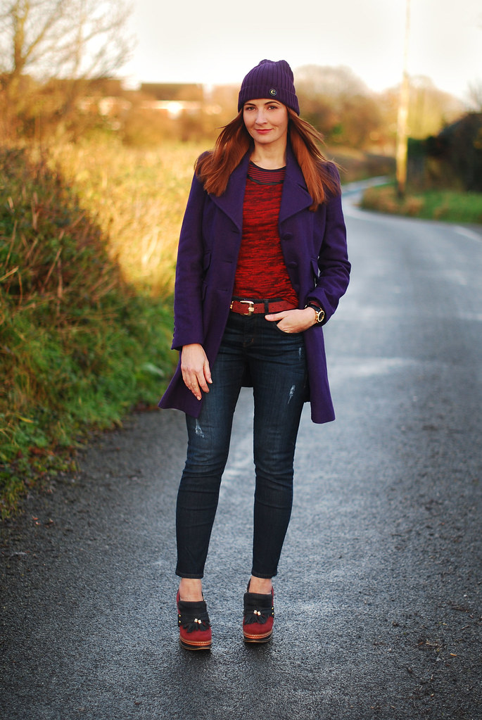 Purple beanie & coat with jeans