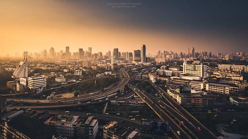 road city light sky skyline landscape thailand evening office twilight cityscape bangkok officebuilding