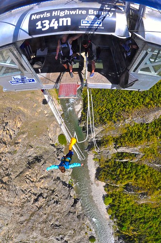 Lina doing the Nevis Bungy jump