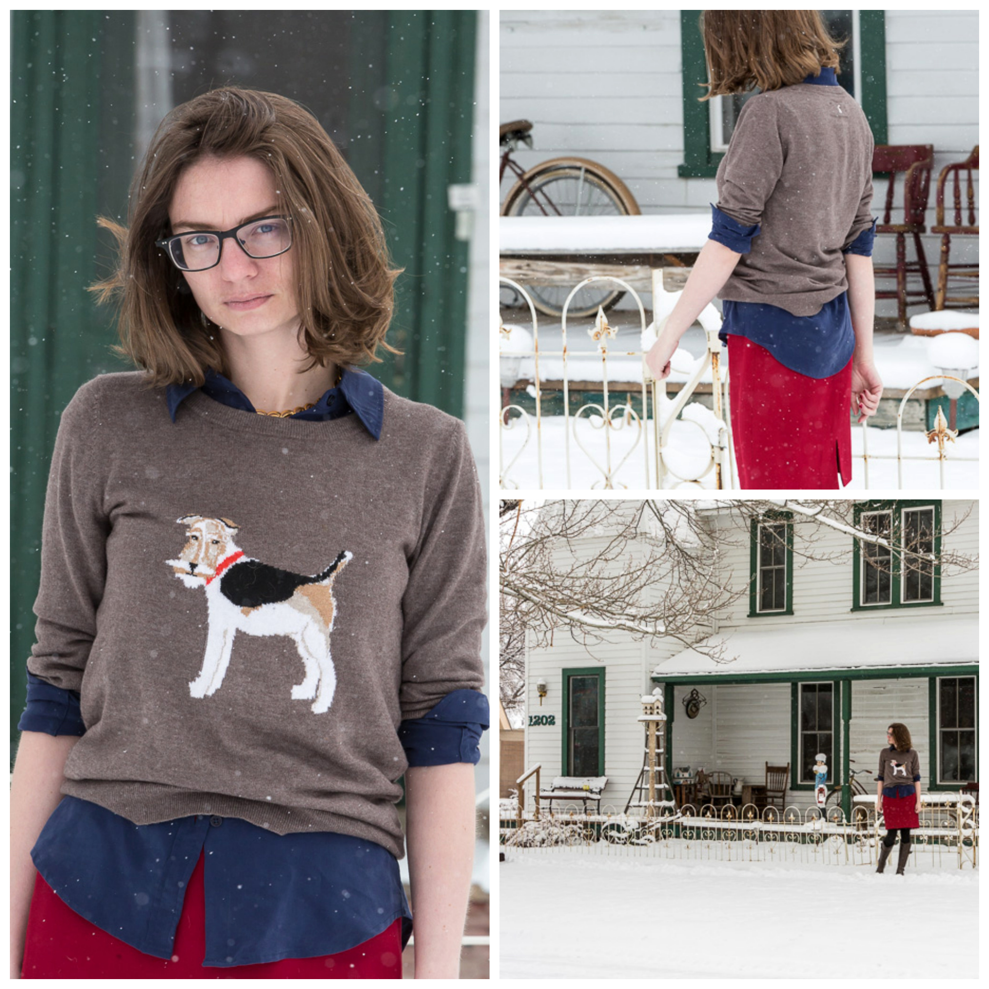 Fox Terrier Sweater, popbasic, silk shirt, red pencil skirt, outfit, never fully dressed, withoutastyle, wyoming