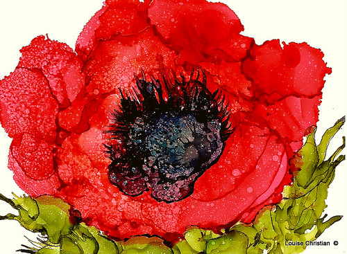 ''POPPY''...ALCOHOL INK PAINTING