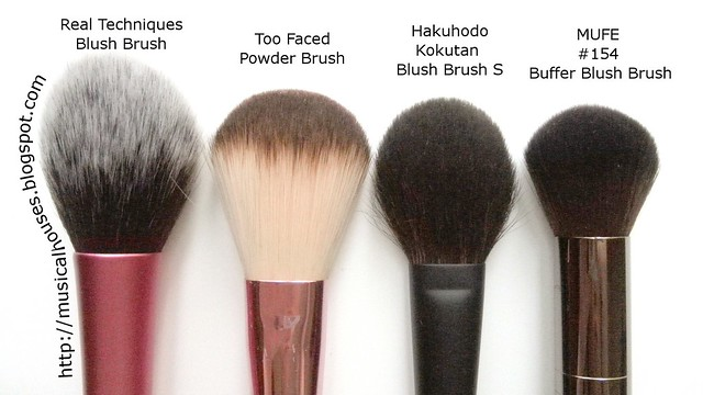 MUFE Buffer Blush Brush Real Techniques Blush Brush Too Faced Powder Blush Hakuhodo Kokutan Blush Brush S