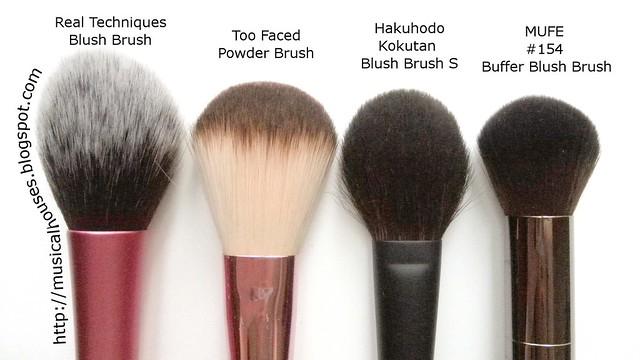 MUFE Buffer Blush Brush Real Techniques Blush Brush Too Faced Powder Blush Hakuhodo Kokutan Blush Brush S