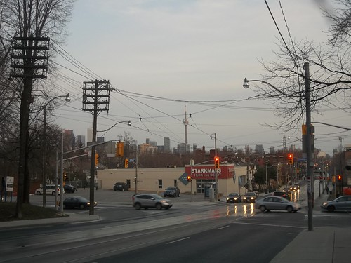 Looking south on downtown Toronto from Bathurst at Davenport