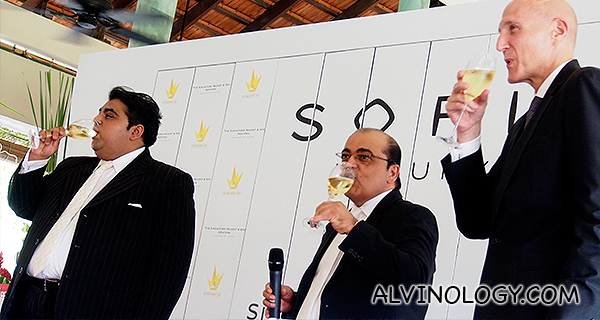 Toasting to success - L-R: Bobby Hiranandani, Managing Director of Royal Group Development; Asok Kumar Hiranandani, Chairman of Royal Group Development; Michael Issenberg, Chairman and Chief Operating Officer for Accor Asia Pacific