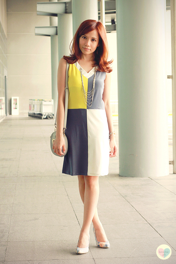 love chic tumblr lovechic asian fashion blog shai lagarde shailagarde style fashion blogger travel naia airport incheon cebu pacific flight yellow lime avocado green grey colorblocking dress cole vintage summer corporate forever21 heels floral korea 3