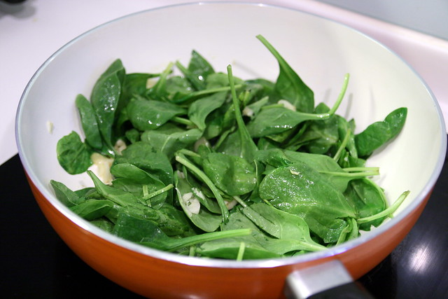 Sautee spinach with garlic