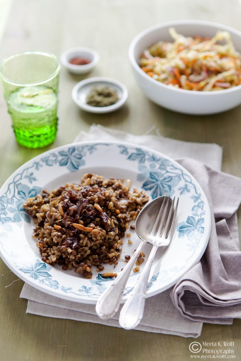 Mujaddara - Lebanese Lentils Bulgur Pilaf (099)
