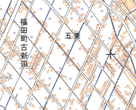 倉敷市福田の斜め格子の街路(地理院地図)