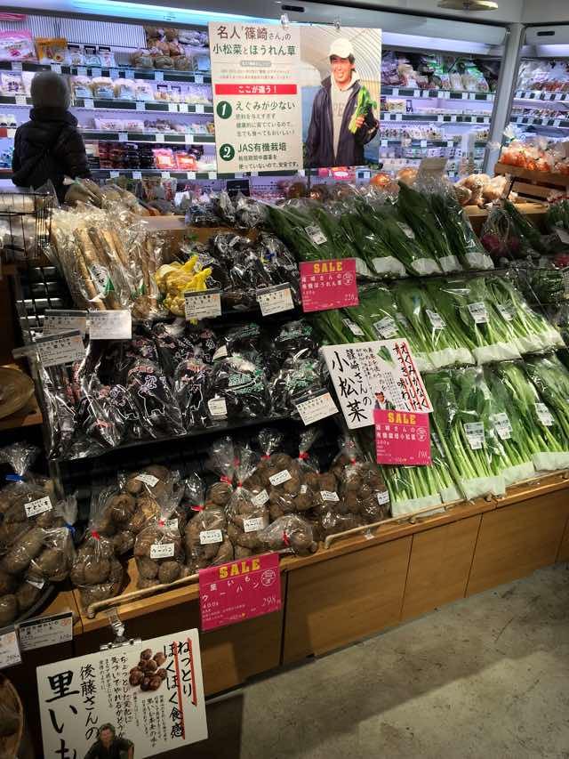 陳列される野菜たち
