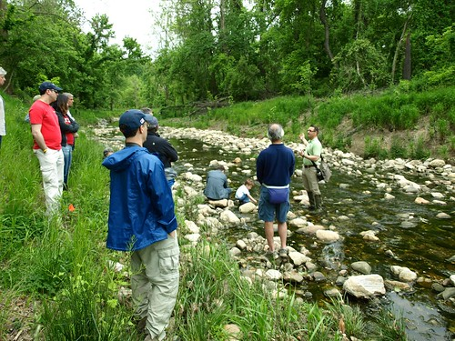 Image of DEP staff leading a restoration education event at Booze Creek.
