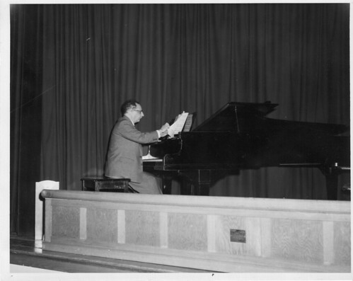 Rene Frank at piano on Founders Stage