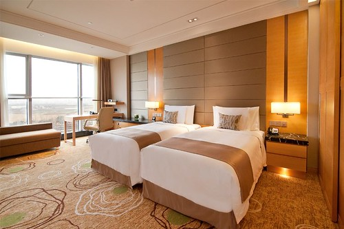 Bright Spacious Modern Superior Twin Bed Room at the Crowne Plaza Shanghai Anting