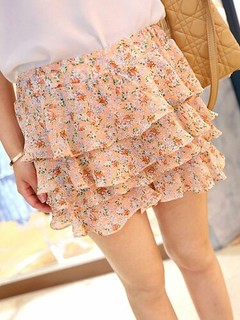 Sweet Girls Cake Layered Floral Chiffon Short Pant