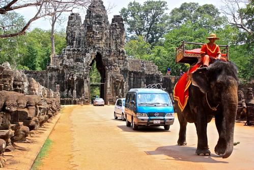 elephant traffic outside of Angkor Thom