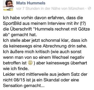 Mats Hummels kommentiert bei Facebook die Sport Bild-Schlagzeile zu seinem Interview über Mario Götze