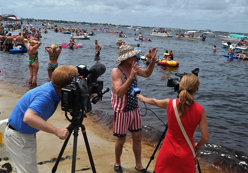 Freedom Swim Co-Founder Michael P. Haymans Speaks with Media about Bacteria Counts in the Water Prior to the Swim. July 4, 2013