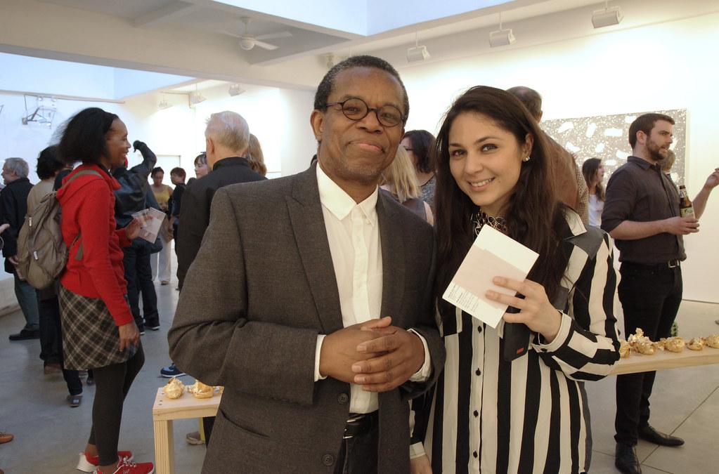 Department of Art Visiting Associate Professor Bill Gaskins, on left, with Sohia Balagamwala (M.F.A.'14).