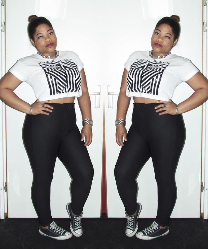 new look, outfit of the day, ootd, wiww, wiwt, high bun, dark lips, how to style crop top, high wasted, how to, style, streetstyle, converse, american apparel, aa, urban, fashion, blogger
