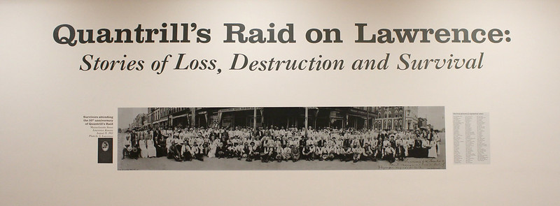 Exhibition Title Wall for Quantrill's Raid on Lawrence: Stories of Loss, Destruction and Survival