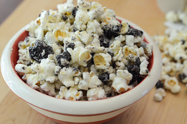 A serving of Cookies and Cream Popcorn.