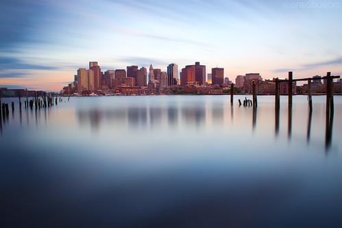 Boston Skyline just after Sunrise, Carlton Wharf East Boston by Greg DuBois Photo