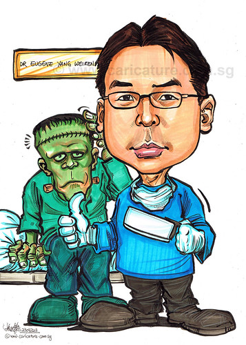 Dr Eugene Yang neurosurgeon caricature for AHPL