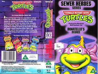 "TEMPO VIDEO ::  ""TEENAGE MUTANT HERO TURTLES"" 'SEWER HEROES' SERIES - ""DONATELLO'S DEGREE"" ..U.K. VHS sleeve (( 1994 ))  [[ Courtesy of HERO ]]"