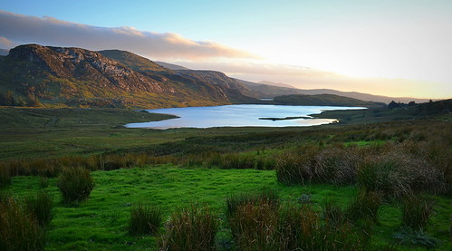 lake evening rugged donegal bluestackmounains loughea