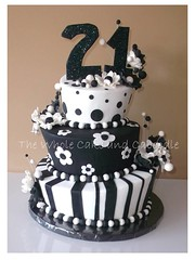 black and white and cake all over