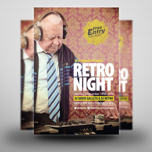 retro night party flyer 02