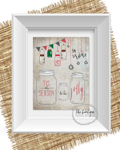 Free Holiday Christmas printable; holiday mason jar printable; free christmas print for mantel; tis the season to be jolly quote in mason jars