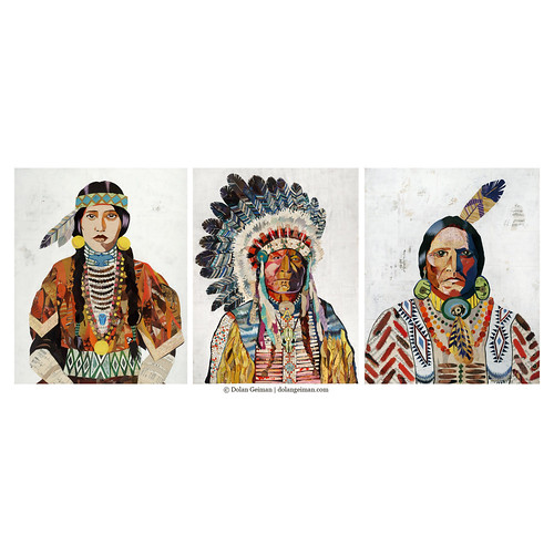 Dolan Geiman American Heritage Collection Set of 3 Paper Prints, Hip Tribal Home Decor