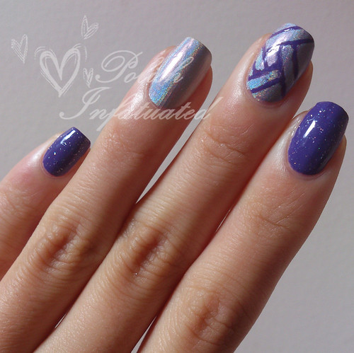 purple & holo skittle nail art