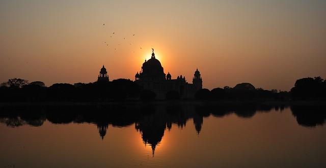 Victoria Memorial in the sunset